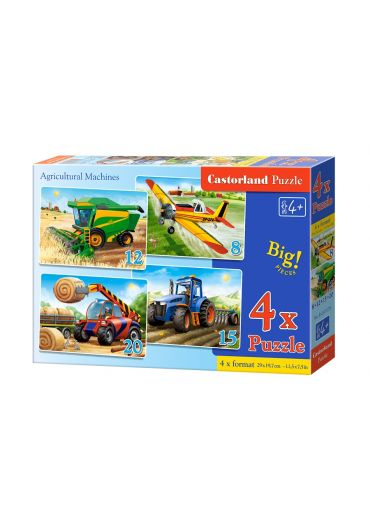 Puzzle 4 in 1 (8+12+15+20 piese) Agricultural Machines