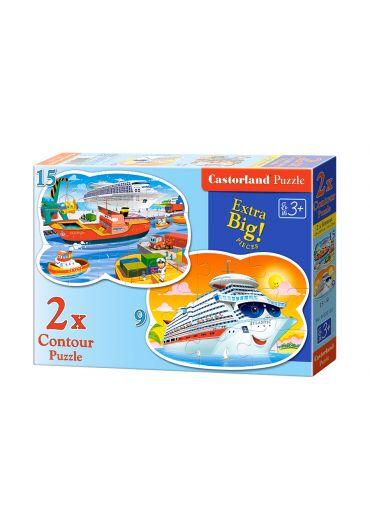 Puzzle 2 in 1 Contour puzzle (9+15 piese) Sea Adeventures