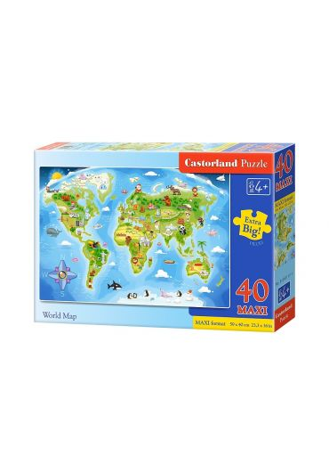 Puzzle 40 piese Maxi World Map
