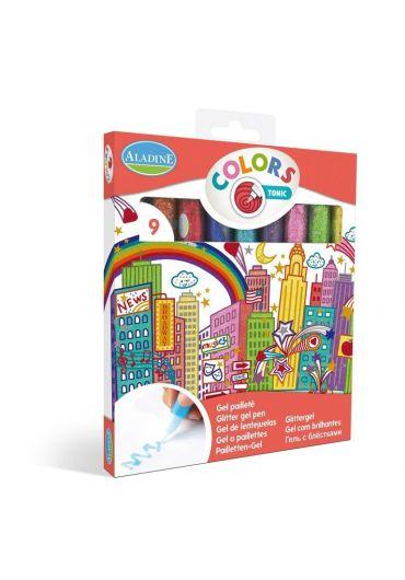 Set 9 culori glitter glue culori aprinse