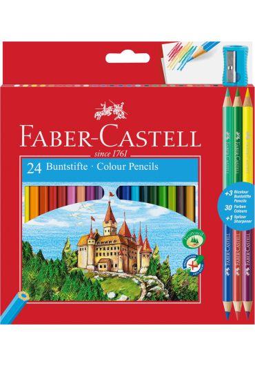 Creioane colorate set 24+3 culori Eco cu ascutitoare