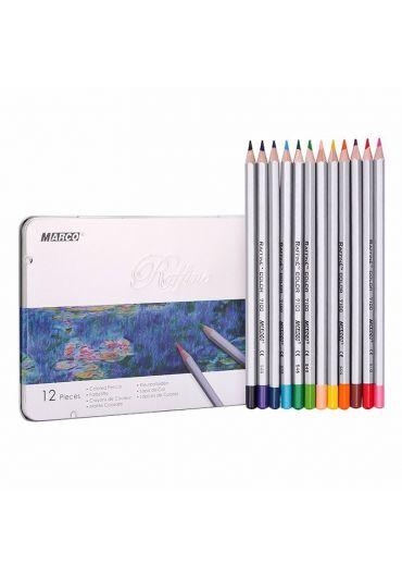 Creioane 12 culori caseta metalica Marco Raffine 7100