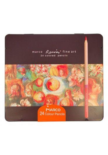 Creioane 24 culori caseta metalica Marco FineArt