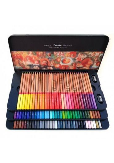 Creioane 100 culori cutie metalica Marco FineArt