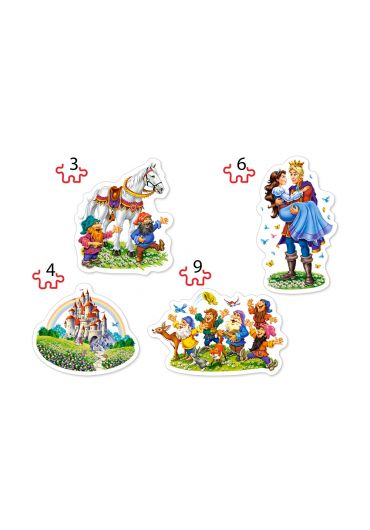 Puzzle 4 in 1 (3+4+6+9 piese) Snow White story