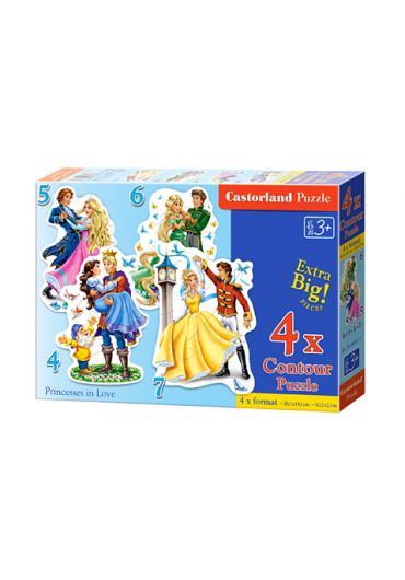 Puzzle 4 in 1 (4+5+6+7 piese) Princesses in Love