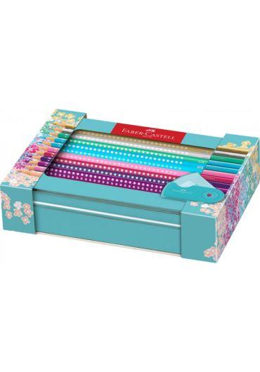 Set cadou 20 creioane colorate Sparkle + ascutitoare Sleeve