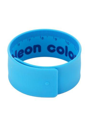 Rigla flexibila 18 cm otel si cauciuc albastra neon