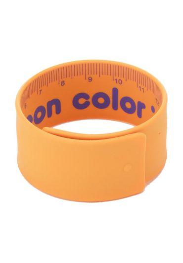 Rigla flexibila 18 cm otel si cauciuc portocaliu neon