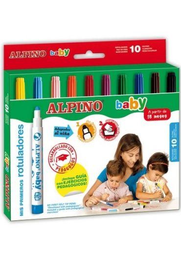 Carioca lavabila 10 culori/set Alpino Baby