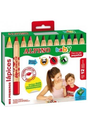 Creioane colorate 12 culori/set Alpino Baby