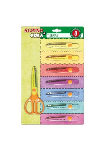 Foarfeca copii 13 cm + 8 modele de taiere Alpino