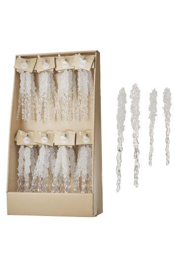 Decoratiune brad - Xmas icicle white 20x1.5cm