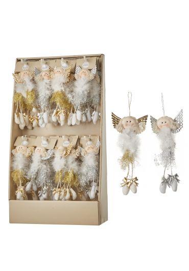 Decoratiune brad - Xmas doll angel gold & silver