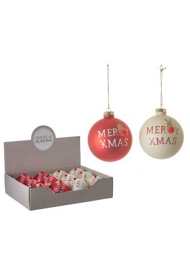 Decoratiune brad - Xmas ball red & white