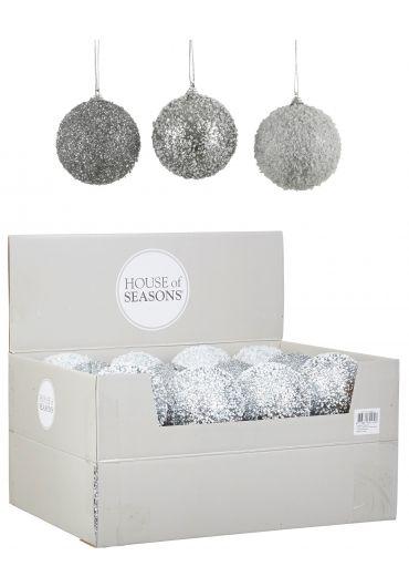 Decoratiune brad - Xmas ball silver white champagne