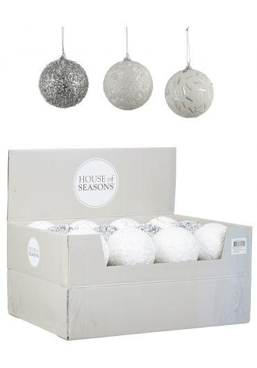 Decoratiune brad - Xmas ball silver white