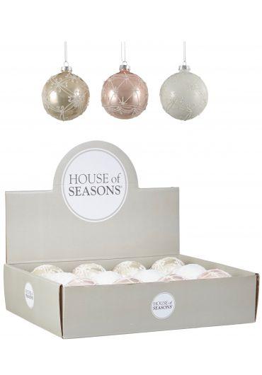 Decoratiune brad - Xmas bauble glass white, gold & pink
