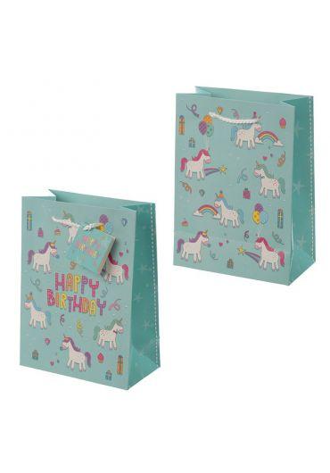 Punga cadou medie - Happy Birthday Enchanted Rainbows Unicorn design