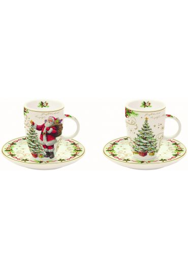 Set 2 cesti cafea cu farfurioare - Magic Christmas