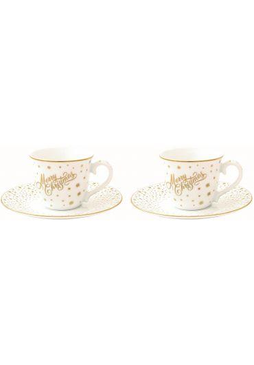 Set 2 cesti cafea cu farfurioare - Golden Christmas