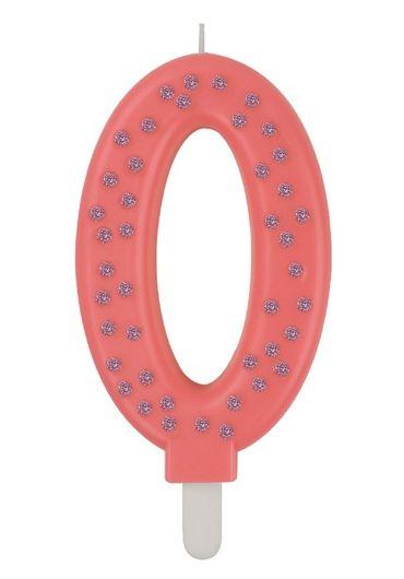 Lumanare aniversara Maxi - Cifra 0 - Pink