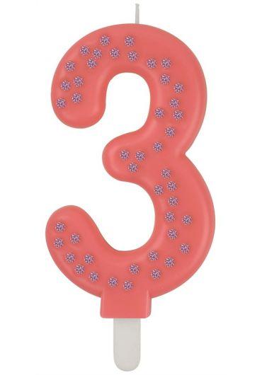 Lumanare aniversara Maxi - Cifra 3 - Pink