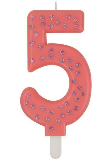 Lumanare aniversara Maxi - Cifra 5 - Pink