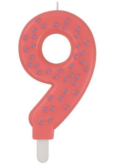 Lumanare aniversara Maxi - Cifra 9 - Pink