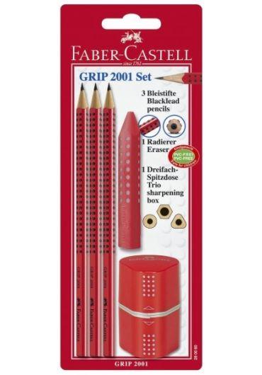 Blister grip family (3 creioane grafit + radiera + ascutitoare) rosu