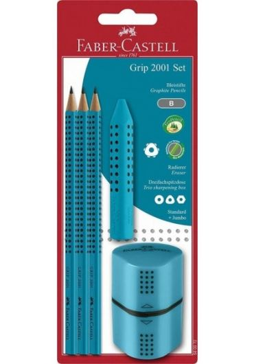 Blister grip family (3 creioane grafit + radiera + ascutitoare) turcoaz