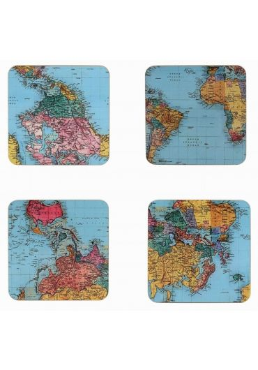 Set 4 suporturi pahare - World Traveller