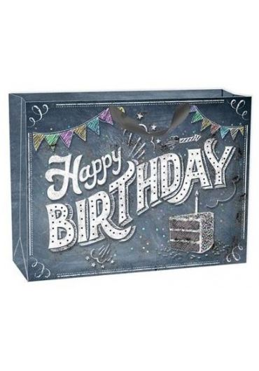 Punga cadou XL - Happy Birthday Chalkboard