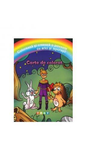 Coloreaza si creeaza o poveste cu arici si iepurasi! Carte de colorat
