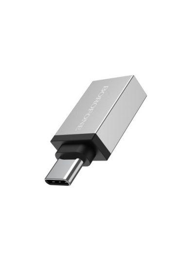 Adaptor OTG Type C to USB Borofone BV3 Incarcare si Transfer Argintiu