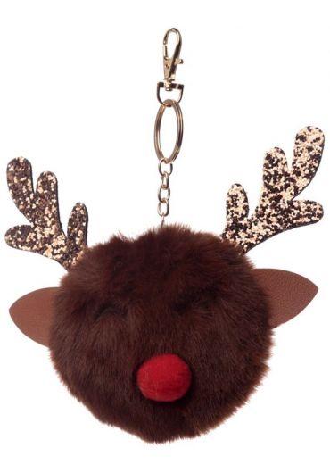 Breloc - Jingle All the Way Reindeer Pom Pom Xmas