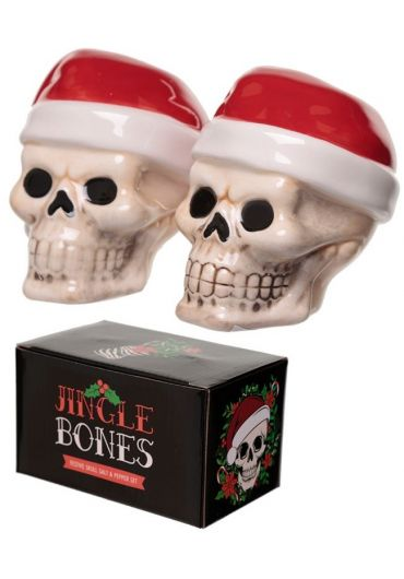 Set 2 recipiente pentru sare si piper - Jingle Bones Skull Xmas
