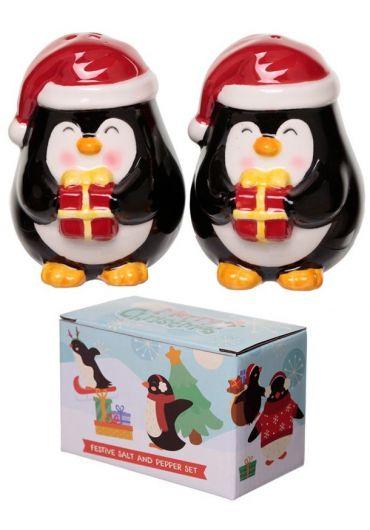 Set 2 recipiente pentru sare si piper - Penguin Xmas