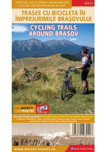 Harta de cicloturism si mountain bike. Trasee cu bicicleta in imprejurimile Brasovului