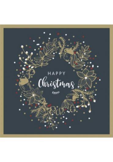 Felicitare - Happy Christmas - Foiled Wreath on Blue