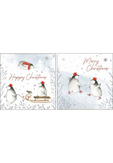 Felicitare - Happy Christmas/Merry Christmas Playful penguins