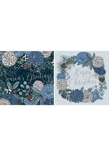 Felicitare - Happy Christmas/Season's Greetings - Sapphire and Snow Xmas