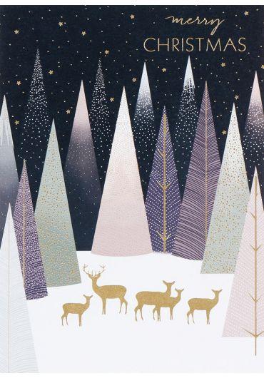 Felicitare - Sara Miller - Deer in pastel forest Xmas