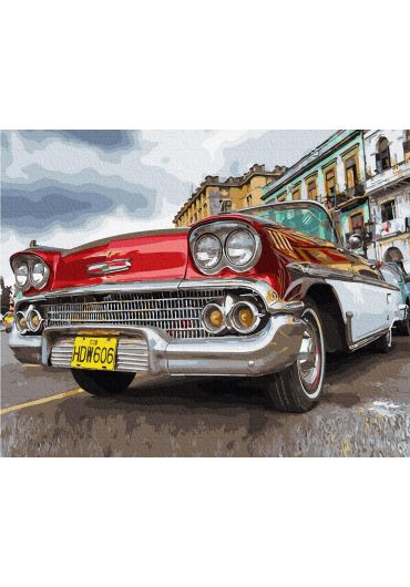 Set Picturi pe numere, Acuarello, 40X50 cm - Retro Car