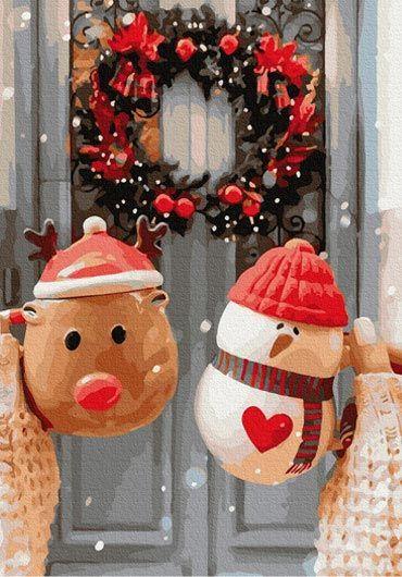 Set Picturi pe numere, Acuarello, 40X50 cm - Christmas Morning