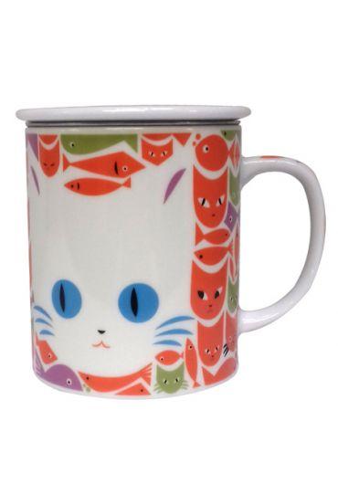 Cana cu capac - Puzzle Cat White Orange