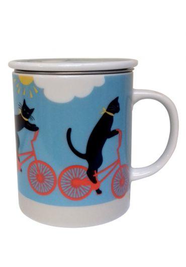 Cana cu capac - Cycling Cat Blue