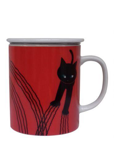 Cana cu capac - Scratch Cat Red