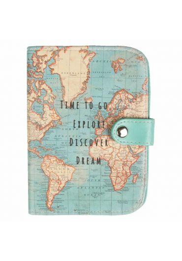 Holder pentru pasaport - Vintage Map Time to go