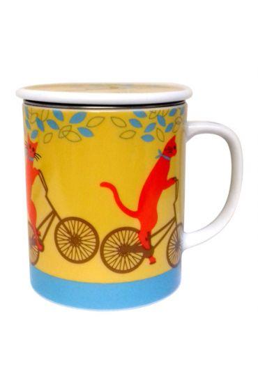 Cana cu capac - Cycling Cat Yellow